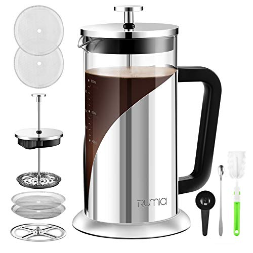 French Press Coffee Maker  Rumia 304 Stainless Steel Coffee Press Glass French Press with Scale Line 3 Level Filtration System Heat Resistant Borosilicate Glass Easy Clean 34 oz BPA Free