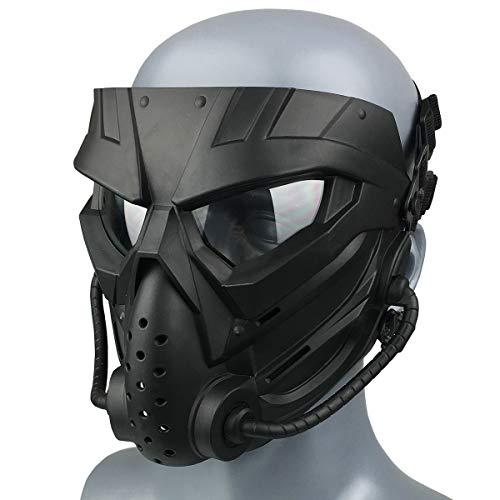 Wwman Paintball Airsoft Maske für den Außenbereich, verschleißfeste Taktisch CS Cosplay Vollgesichtsmaske mit Antibeschlaggläsern, für Erwachsene Jugendliche Halloween (WWZL3-BK-C)