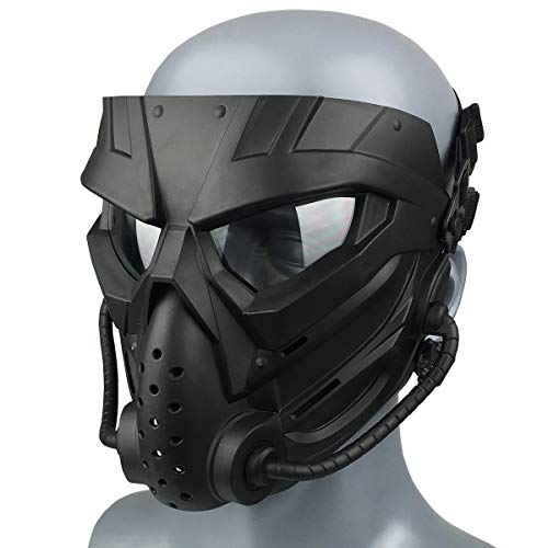Wwman Máscara de Paintball CS para Uso en Exteriores, máscara táctica de Cara Completa Resistente al Desgaste con Gafas antivaho, para adolescentes adultos (WWZL3-BK-C)