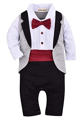 ZOEREA 1pc Baby Boys Tuxedo Gentleman Onesie Romper Jumpsuit Wedding Suit 3-18M , Black , Label 80 / 6-9 Months