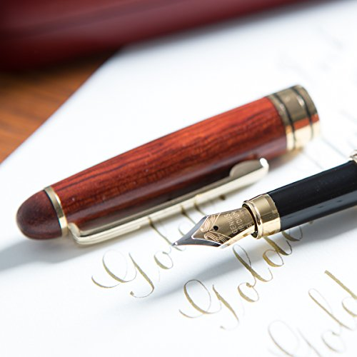 """[Top Rated Rosewood Fountain Pen] Designer Luxury Fountain Pens by Golden State Ink - our""""Napa Valley Collection"""" - Best 100% Handcrafted Pen Set with Case- Perfect for Gifts - Calligraphy Pen"""