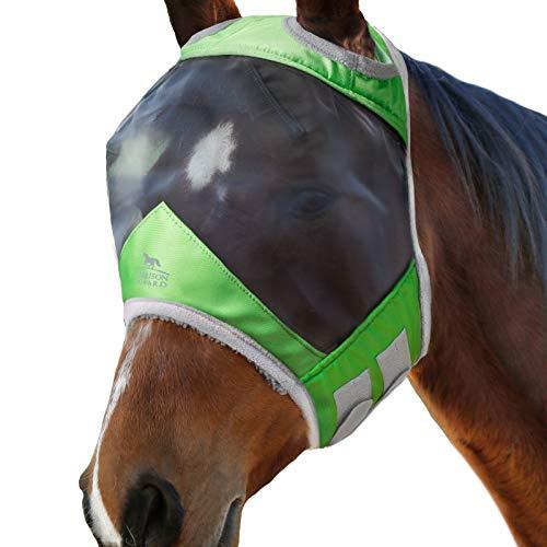 Harrison Howard CareMaster PRO Luminous Maschera Anti-Mosche per Cavallo UV Protezione Verde Smeralda (L; Full Size)