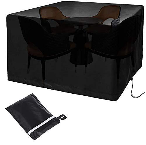 Funda para muebles de jardín, resistente a desgarros, resistente al agua, resistente al viento, anti rayos UV, para muebles de jardín (126 x 126 x 74 cm), color negro