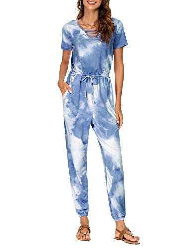 FENSACE Blue Tie Dye Jumpsuits for Women Summer, Thermal Onesie Women Rompers for Teen Girls Harem Jumpsuit (Blue,M)
