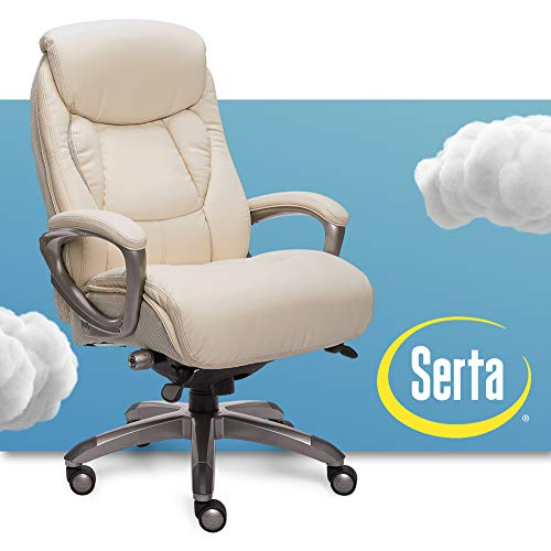 Serta Executive Office Chair with Smart Layers Technology, Leather and Mesh Ergonomic Computer Chair with Contoured Lumbar and ComfortCoils, Ivory White