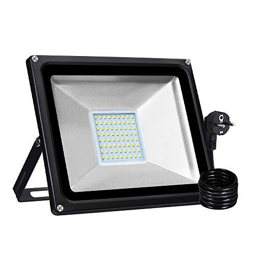 50 W LED Strahler IP65 Wasserdicht Halloween Projektor Lichter für Gärten Plätze LED Flutlicht Outdoor-Sicherheitsleuchte,4000LM (Warmweiß, 1PCS)