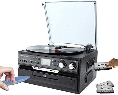 Retro Musikanlage | Nostalgie Design Stereoanlage | Kompaktanlage | Musik Center | Aufnahmefunktion | Plattenspieler | CD/MP3 | USB/SD | Radio FM/AM | LCD-Display | Kassettenspieler |