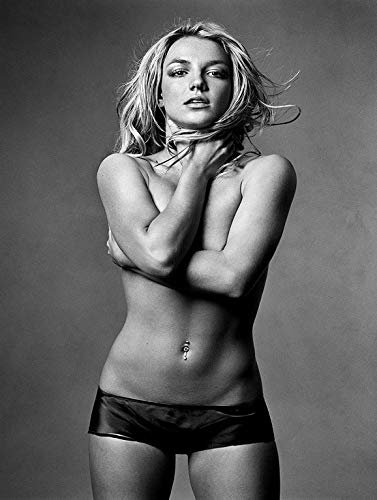 Credence Collections Britney Spears Black and White HD Poster 12 x 18 Inch