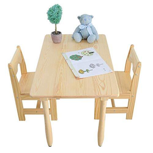 N&O Renovierungshaus 1 Tisch + 2 Stühle Hocker Holz Kinderzimmer Sets Schreibtisch Jungen Mädchen Unisex Indoor 1 Tisch + 2 Stühle 120 * 60 * 60cm