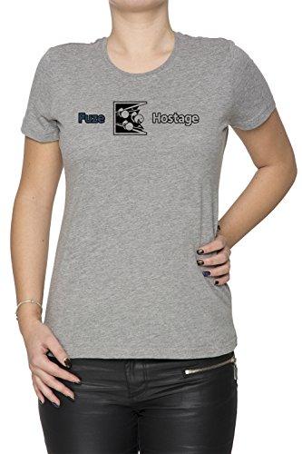 Dont Fuze The Hostage! Donna Girocollo T-Shirt Grigio Maniche Corte Dimensioni XXL Women's Grey XX-Large Size XXL