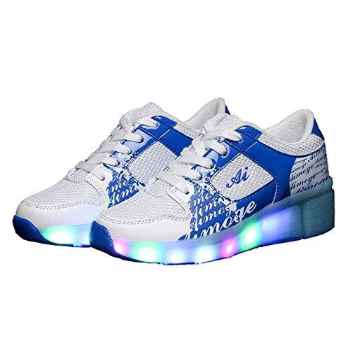 HWZZ Einrad-Verstellbare Inline-Skates Für Kinder Mit Unisex-LED Und LED-Licht Für Laufsportschuhe Im Freien,Weiß,30EU