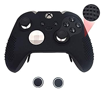 Taifond Anti-Slip Silicone Controller Cover Protective Skins for Microsoft Xbox One Elite Controller with Two Thumb Grip Caps  Black