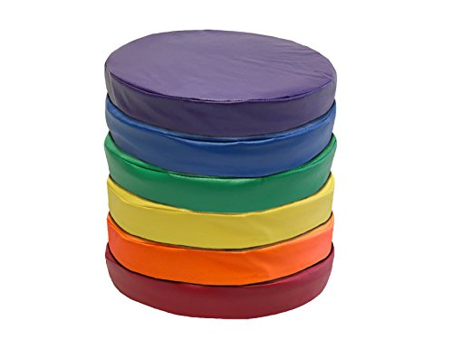 Kindermat Floor Disks/Seats, Story Time Cushions For School Or Home, 16' Wide by 2' Thick, 6 Pack with Yellow, Blue, Green, Purple, Orange, Red