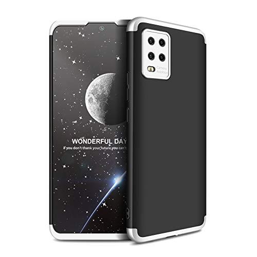 """Grandcaser Capa para Mi 10 Lite 5G ultra fina rígida PC 3 em 1 premium à prova de choque fosco capa de proteção traseira para Xiaomi Mi 10 Lite 5G/10 Youth 5G 6,5"""" - Prata + Preto"""