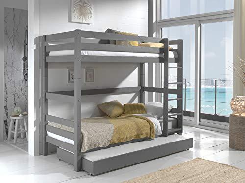 Vipack Letto a soppalco Pino 160 cm di altezza, con cassetto per letto, in pino massiccio laccato grigio