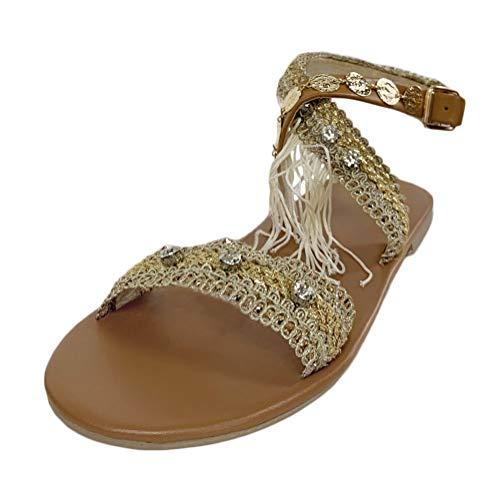 Minetom Damen Böhmen Flache Badesandale Sandalen Boho Clip Toe Flip Flop Zehentrenner Schuhe Übergröße Sommerschuhe Strandschuhe Pantoletten G Gold 37 EU