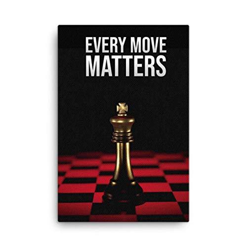 Blanriguelo Leinwandbilder International Chess Mural Picture Wandkunst Poster und Drucke Wohnzimmer Büro Home Decor 60 x 90 cm (23,6'x 35,4') Rahmenlos