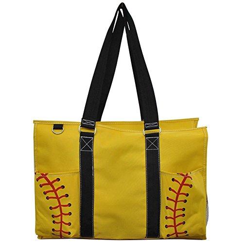 N. Gil All Purpose Organizer 18' Large Utility Tote Bag 3 (Yellow Softball Black)