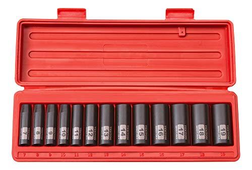 Conjunto de soquetes de impacto de 6 pontos de profundidade de 3/8 polegadas da Tekton, 13 peças (7-19 mm)   47925