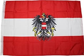 3x5 Austria Flag with Austrian Eagle Banner Includes 2 Nylon Flag Pole Clips