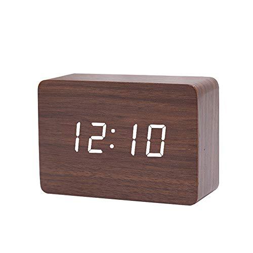 Queta LED Digital Wecker Klein Standuhr mit Datum Temperatur Anzeige, 3 Einstellbare Helligkeit, Sprachsteuerung, 2 Modi Display (Braun)