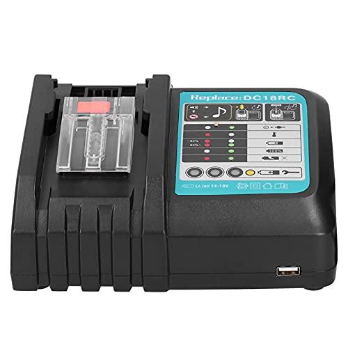 Cargador para batería Makita, equipo de carga de batería 18V 4.0Ah Cargador de iones de litio Suministros industriales DC18RC 100‑240V (enchufe de la UE)(EU)