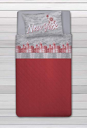 HomeLife Set Lenzuola Letto Singolo Cotone Stampa New York, Made in Italy | Completo Letto 1 Piazza + Federe | Lenzuolo sopra 160x300 + sotto con Angoli 90x200 + Federa 52x82 - Rosso, 1Piazza