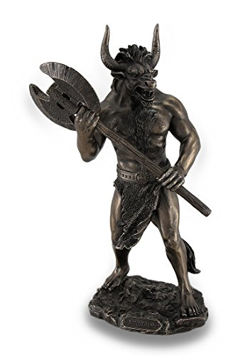 Veronese Design Bronze Finished Minotaur with Labrys Statue Greek Mythology