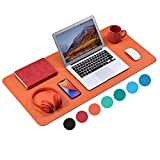 WAYBER Non-Slip Desk Pad (35.4 x 17'), Waterproof Desk Mat, PU Mouse Pad, Leather Desk Cover, Office Desk Protector, Desk Writing Mat for Office/Home/Work/Cubicle (Orange)