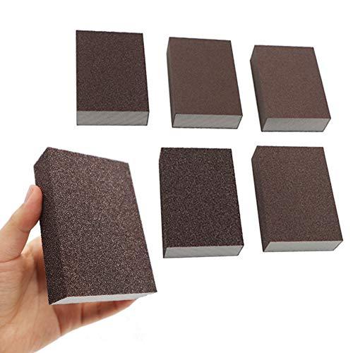 BAISDY 6Pcs Wet Dry Sanding Sponges, 60 80 100 120 180 220 Grit Sanding Pad Assortment, Washable and Reusable