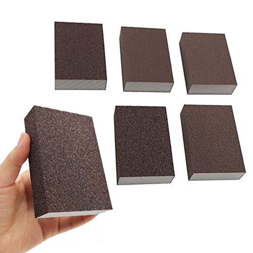 BAISDY 6Pcs Wet Dry Sanding Sponges, 60 80 100 120 180 220 Grit Sanding Pad Assortment, Washable and Reusable