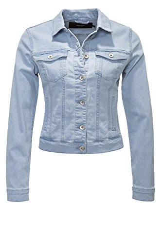 VERO MODA Damen Vmhot Soya Ls Denim Jacket Mix Noos Jeansjacke , Blau (Light Blue Denim Light Blue Denim) , 36 (Herstellergröße: S)