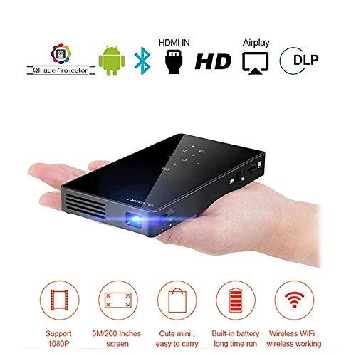 Sweet Mini Beamer,Projector Hd,Praktische Projektor 1080p Pico Bluetooth Video WiFi 5000mah UnterstüTzt Android 7.1 Hdmi USB-Tf-Karte FüR Home Theater
