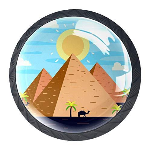Z&Q Perillas de Muebles Pirámides de Egipto 4 Piezas Pomos Cristal de plástico Negro Tiradores de Muebles para Habitación Infantil 3.5x2.8CM