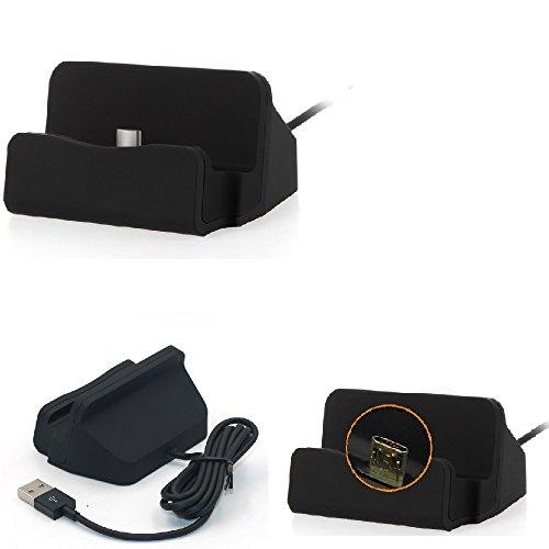 K-S-Trade Dockingstation Kompatibel Mit Sony Xperia Z3 Compact Docking Station Micro USB Tisch Lade Dock Ladegerät Charger Inkl. Kabel Zum Laden Und Synchronisieren, Schwarz