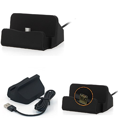 K-S-Trade Dockingstation Kompatibel Mit Sony Xperia Z3 Compact Docking Station Micro USB Tisch Lade Dock Ladegerät Charger Inkl. Kabel Zum Laden Und Synchronisieren, Schwarz