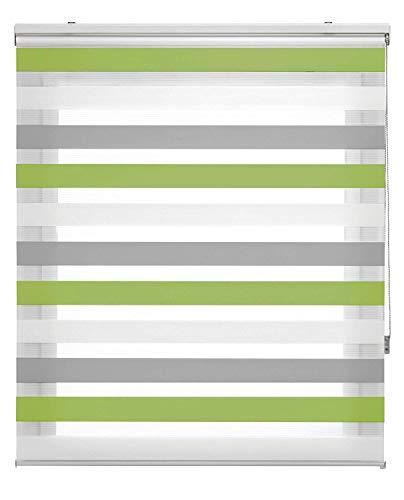 Estoralis Loras Estor Enrollable Doble Tejido, Noche y día, Gris-Verde, 125 x 175 cm