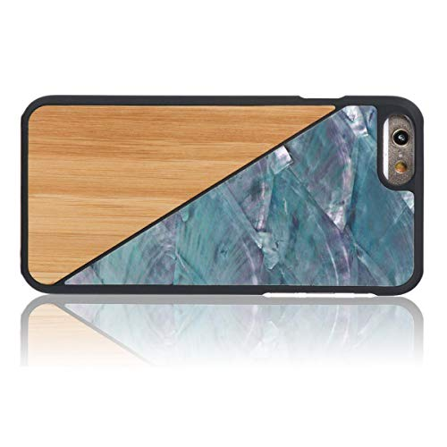 WOLA für iPhone 6 / 6s Hülle Holz Aqua Handyhülle Holz & Perlmutt Muscheln Bambus Blau