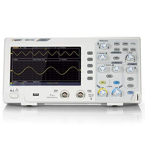 "SDS1102 Labor Oszilloskope, Baugger- Zweikanal Oszillometer Digitales Speicheroszilloskop 2CH 100MHz 1GS / s 7\""LCD-Display EU-Stecker"