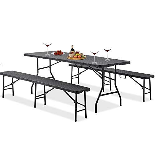 3-teiliges Zusammenklappbares Gartenmöbel Set Bierzelt-Set Leichtes Tragbares Rattan Tisch- und Bank-Set für Camping, Picknick, Grill