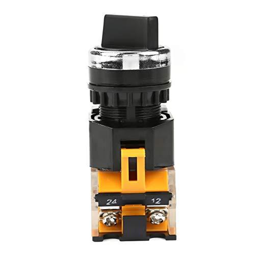 1 Uds 22mm interruptor selector giratorio redondo 2 posiciones NC + NO autobloqueo para LA38-11X2