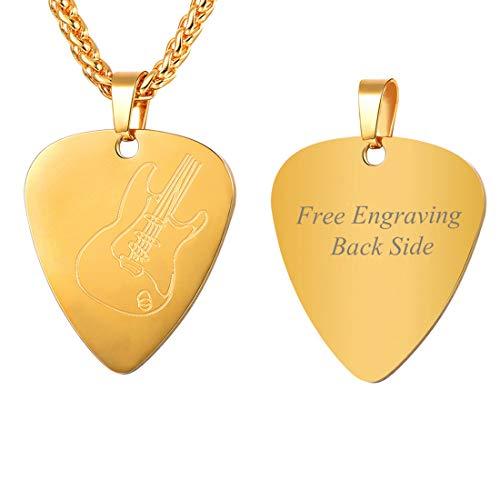 Colar U7 com pingente de palheta de guitarra, unissex, corrente ajustável de aço inoxidável, joia com pingente de nota musical/guitarra/fone de ouvido, personalizável Medium Dourado