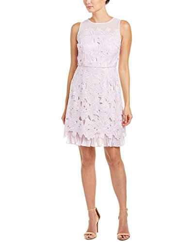 Adrianna Papell Women's Celcelia Lace with Pleated Kick Skirt, Lavender Mist, 8