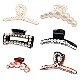 MagicSky 6PCS Pearl Hair Claw Clips, Non-slip Large Acrylic Barrette Clamps, French Design Elegant Jaw Clips, Banana Styling Accessories for Women Girls with Thick or Thin Hair-Black/Brown/Transparent