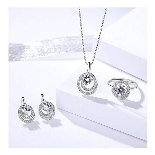 DQH Fqdqh 925 Pendientes de Tres Piezas de Cristal de la Pulsera del Collar de Plata con Plata de Ley, Pendientes y Pulseras Conjunto (Color : Silver.Three-Piece Suit)