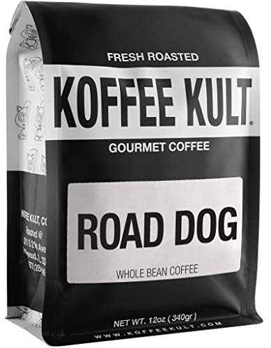 "Dark Roast Coffee Beans - Koffee Kult's Award-Winning ""Road Dog"" Blend Full Body Arabica Coffee (12oz Whole Bean)"