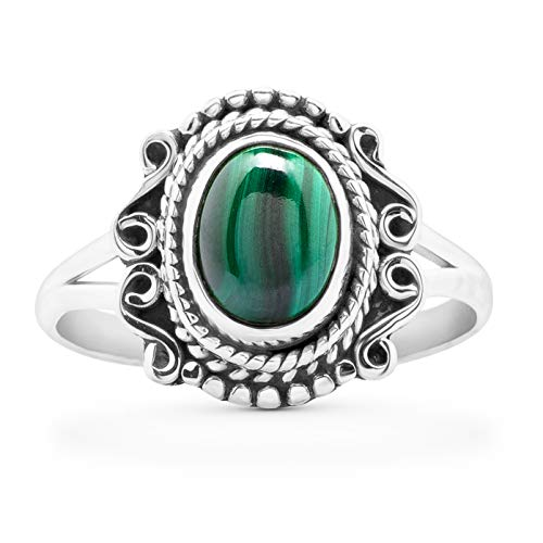 Koral Jewelry Oval Malachite Ethnic Delicate Ring 925 Sterling Silver Vintage Tribal Gipsy Boho Look (7)