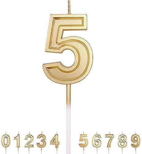 Careu Number Birthday Candle (Golden, 5)