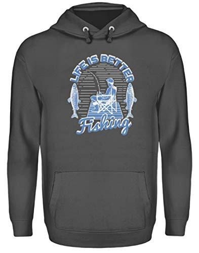 Angler T-Shirt Fischer Angelsport Angelverein Life is Better Fishing Geschenk - Unisex Kapuzenpullover Hoodie -L-Stahlgrau