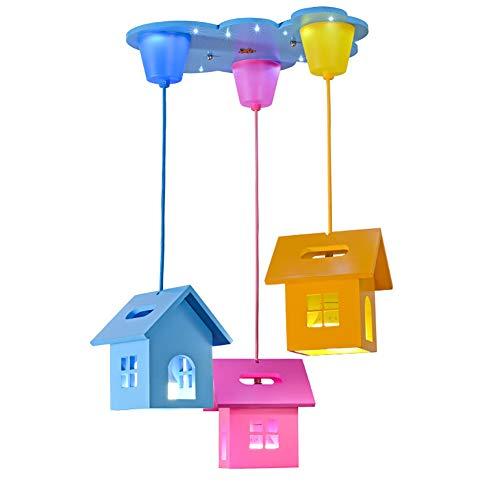 CSDM.AI Araña De Madera De La Casa, Minimalista Moderna Lámpara Colgante para El Jardín De La Infancia del Dormitorio De Los Niños Tres Lámparas Principales Tamaño Los 40 × 36Cm